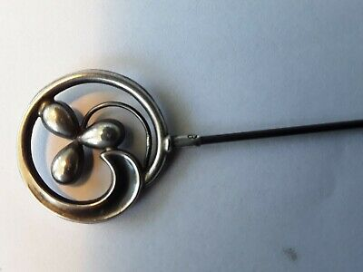 Silver Hat Pin  Hallmarked Birmingham 1910 JW Makers Stamp • 20£