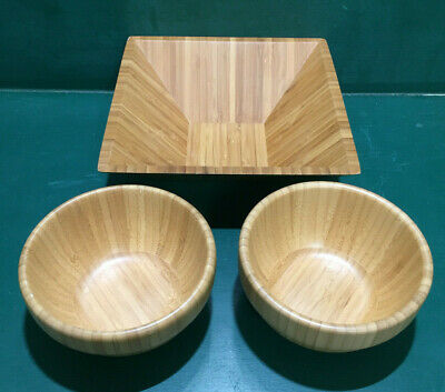 "$22.94 • Buy Pampered Chef Bamboo Bowls 9"" #2249 & (2) 6"" #2253 - Free Shipping!"