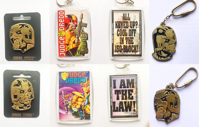 *PICK YOUR OWN* Vintage 1995 Official Judge Dredd 2000AD Key Rings & Badges NEW! • 9.95£