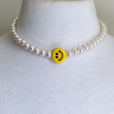 AU250 • Buy Imitation Pearl Necklace With Ceramic Smiley Face Y2k 2000s 90s Cute