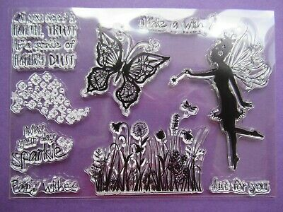 NEW Clear Acrylic Craft Stamp Set - Fairy Dust, Flowers & Butterfly Make A Wish • 3.99£