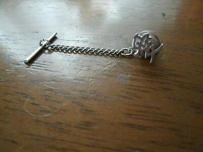 $4.99 • Buy Sterling Silver Tie Pin With Chain & Locking Back - Mens Attire