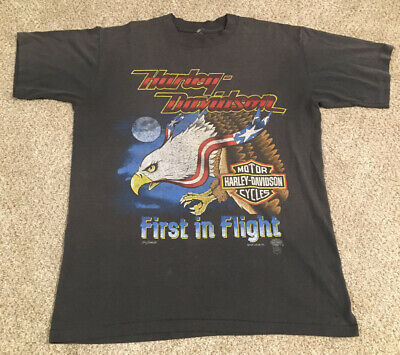 $ CDN93.32 • Buy True Vintage Harley Davidson T Shirt First In Flight Bald Eagle Sz M Super Soft