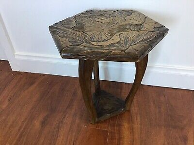 AU129 • Buy Timber Carved Side Table/occasional Table In Excellent Condition