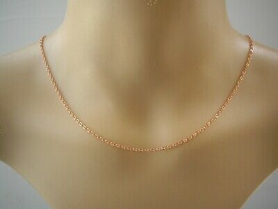 Plain Bright Rose Gold Plated Necklace Chain 3mm Link Cable ~ Choose Length C2 • 6.99£