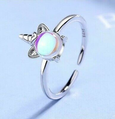 £4.99 • Buy 925 Sterling Silver Plated Moonstone Unicorn Ring Open Adjustable Multicolour UK