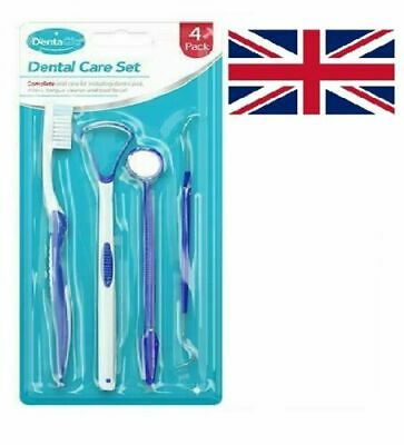 Tooth Cleaning Plaque Remover Teeth Scraper Cleaner ORAL CARE KIT Brush-UK • 2.74£