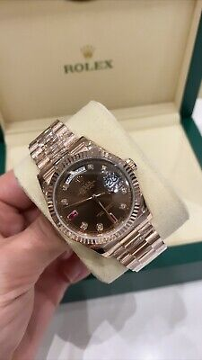£32500 • Buy Rolex Day Date 36mm Rose 118235 Box & Paper Chocolate Ruby Discontinued
