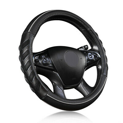 AU24.69 • Buy Universal Car Steering Wheel Cover Leather Grey Black Odorless Auto Accessories
