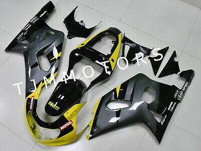 $485 • Buy For GSXR600/750 01-03 ABS Injection Mold Bodywork Fairing Kit Yellow Grey Black