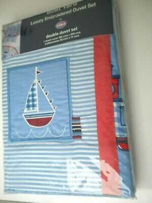 Boat Yard Nautical Luxury Embroidered  Double Duvet Set • 13.99£