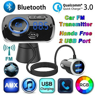 Bluetooth 5.0 Car Kit FM Transmitter MP3 Handsfree 2 USB Charger For IPad Phone • 16.59£