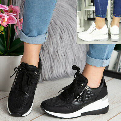£19.95 • Buy Ladies Wedge Hidden Trainers Womens Sneakers Lace Up Comfy Classic Pumps Shoes