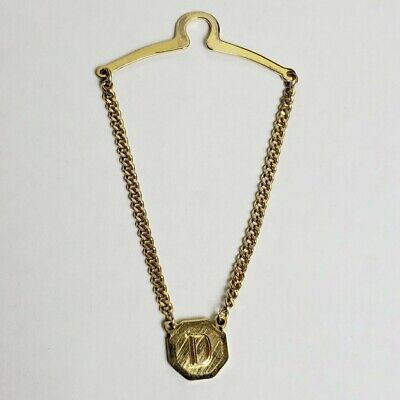 $19.95 • Buy Vintage D Initial Monogram Tie Chain Holder Button Style Gold Plated 1980s