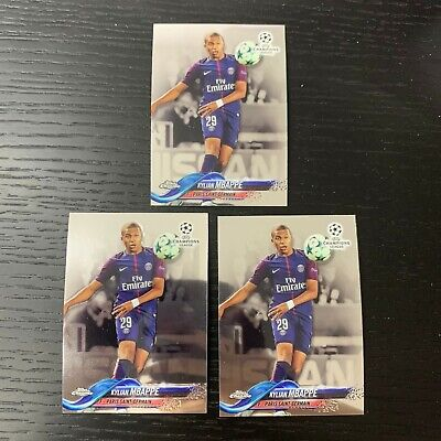 $ CDN4.36 • Buy 3 Lot 17-18 Topps Chrome Uefa Champions League Rookie Kylian Mbappe Rc Cards