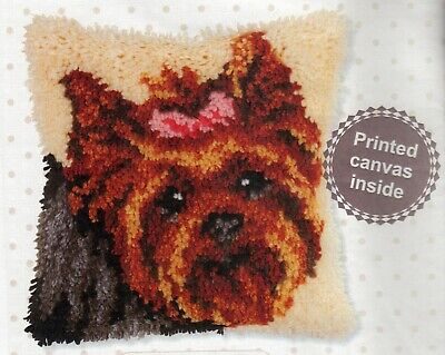 YORKSHIRE TERRIER PUPPY DOG LATCH HOOK CUSHION FRONT KIT 10 X 10 INS ORCHIDEA UK • 20£