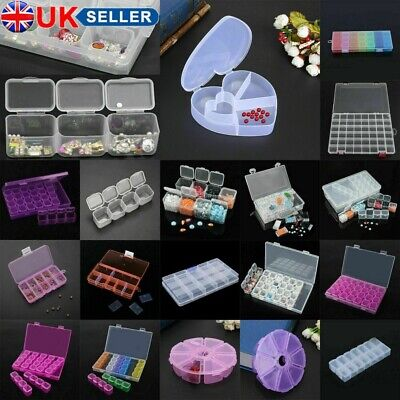Compartment Clear Storage Box Nail Art Jewelry-Bead Organizer Container LOT • 5.45£