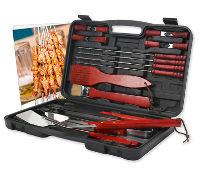 £14.99 • Buy 18 Pcs Bbq Grill Cooking Utensils Tool Set Stainless Steel Barbecue Case