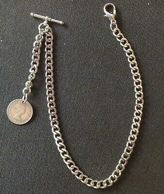 Silver Colour Albert Pocket Watch Chain With A  Lucky  ER II Sixpence Fob • 5.75£