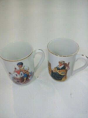 $ CDN29.99 • Buy Norman Rockwell Coffee Cup Lot Of 2 Memories Dollhouse For Sis 1982 Coffee Mug