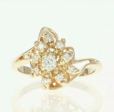 0.5 Ct Natural Diamond Cluster 14 Ct Carat Gold Ring • 145£