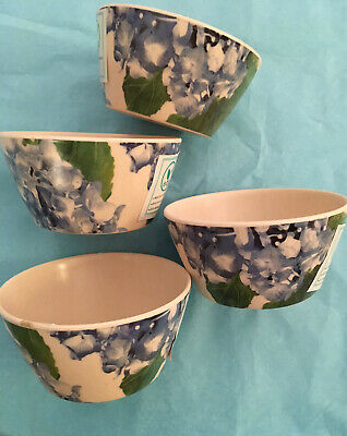 $14.95 • Buy Patina Vie HYDRANGEA Blue Green  Eco Bamboo Fruit  Dip Tidbit Bowls Set 4 NEW