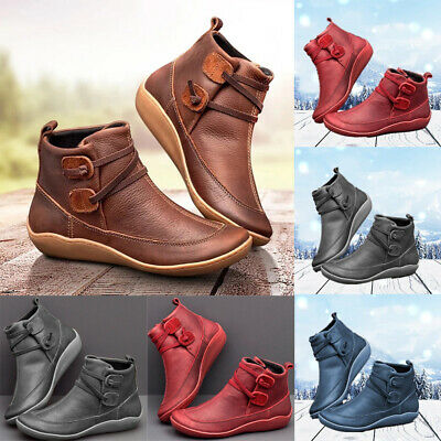 Womens Winter Leather Ankle Boots Ladies Arch Support Wedge Slip On Shoes Size • 10.99£