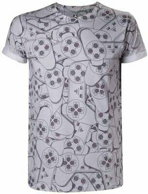 Bioworld Mens Grey Official Playstation Controller Sublimation T-Shirt Size Med • 9.99£