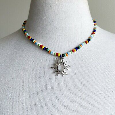 AU19 • Buy 90s Beaded Necklace Sun Pendant 2000s Y2k Summer Multi Colour Beads Spring Style