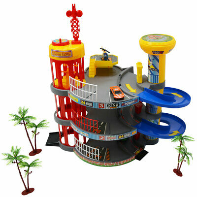 Toy 3 Storey Multi Car Park Garage Parking Elevator Helicopter & 2 Die Cast Cars • 20£