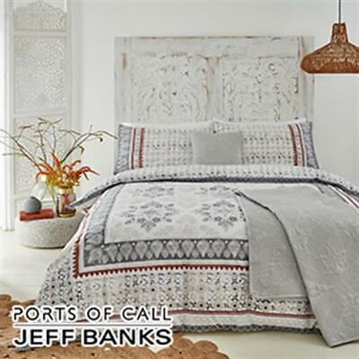 JEFF BANKS Double PORTS OF CALL Jaipur DUVET SET Cover+1 Pillow Case NATURAL/RED • 11.99£