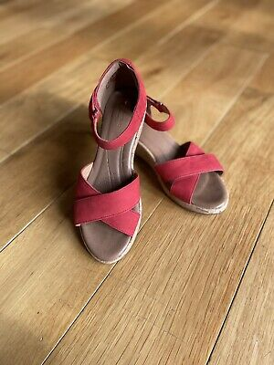 Used CLARKS Womens Red Leather Cork Wedge Sandals With Ankle Strap Uk 6.5 Eur 40 • 13£
