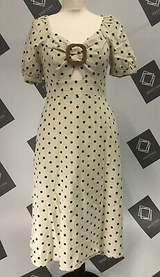 QED London Buckle Front Midi Dress With Puff Sleeves In Polka Dot (10) *KHAKI* • 19.99£