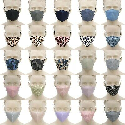 AU6.80 • Buy Adult Unisex Reusable Cloth Cotton Face Mask 3 Layers 3D Shaped Fabric Washable