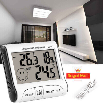 NEW Digital LCD Indoor Outdoor Thermometer Humidity Meter Hygrometer Temperature • 5.99£