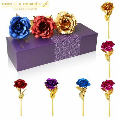 AU13.01 • Buy 24K Gold Foil Rose Flower For Mother's Day Valentine's Day Faux Colorful Flower