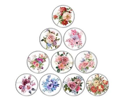 £4.19 • Buy 10 Flower Bouquet Rose Lily Cabochons Mixed Round Glass Cabochon Flat Back Craft