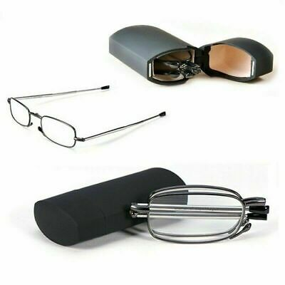 Compact Folding Reading Glasses With Carrying Case Black Frame +1.5 +2.0 Mens UK • 4.99£