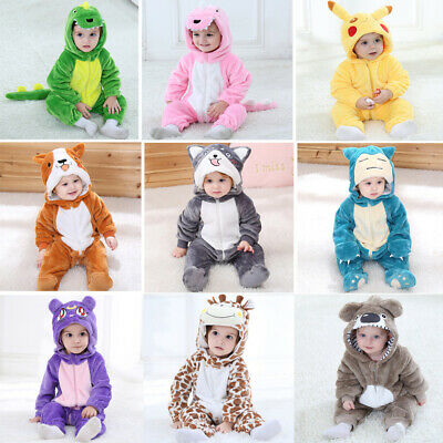 AU23.25 • Buy Baby Kid Infant Boys Girls Animal Romper Hooded Jumpsuit Bodysuit Outfit Clothes