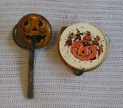 $ CDN48.88 • Buy Vintage Halloween Noise Makers Lot Of 2 Tin Clapper Tambourine