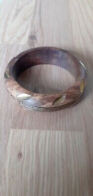 Chunky Dark Wood Brass Inlaid Bangle, Indie/bono,2cms Thick. • 8£