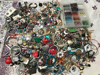 $ CDN6.66 • Buy 12+ Lbs  VINTAGE - NOW *JUNK* JEWELRY LOT SEED BEADS BITS & PIECES (CRAFT ONLY)
