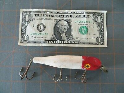 $ CDN8.43 • Buy Vintage Wooden Paw Paw Pikie Minnow- Red & White - 4 1/4 Inch