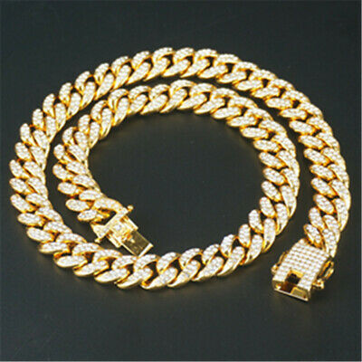 Big Cuban Chain Gold Plated 18k Iced Out Bling Rap Fashion Yellow Gold Rose Gold • 12.99£