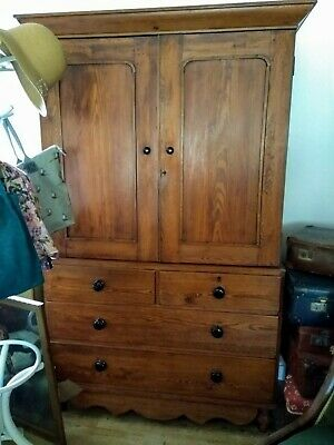 Antique Victorian Pine Linen Press House Keepers Cupboard • 495£