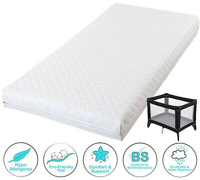 £29.50 • Buy Quilted Foam Mattress With Waterproof Cover For Baby Travel Cot Breathable