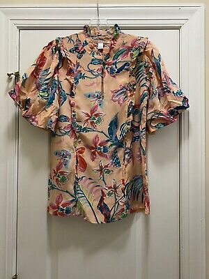 $ CDN67.01 • Buy Anthropologie BANJANAN Garden View Silk Blouse With Pockets Size XS