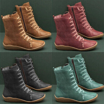 Women Ladies Flat Ankle Boots Autumn Arch Support Casual Leather Shoes Size 4-7 • 11.69£
