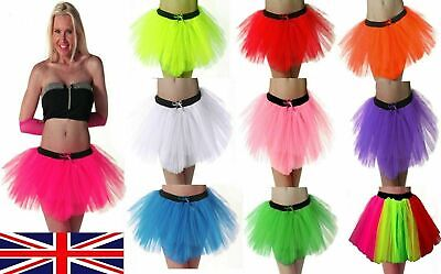 LONG NET NEON UV TUTU SKIRT 80s HEN FLO FANCY DRESS HALLOWEEN PARTY 8-14 & 16-26 • 4.49£