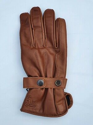 TG Motorcycle / Motorbike /Scooter Cowhide Leather  Gloves Brown Colour S -XXL • 13.99£
